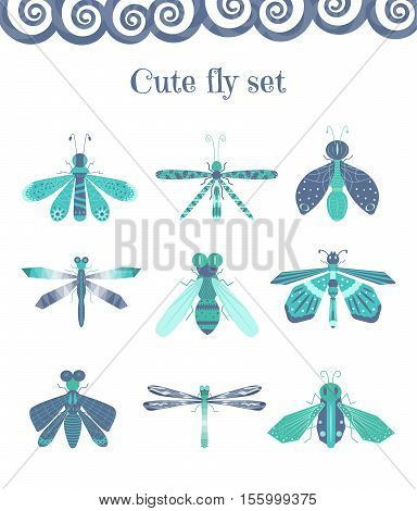 Vector set of cute and colourful flies dragonflies and other insects. Elements for summer illustration.