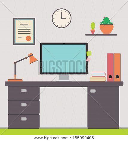Vector illustration of a freelancer's home office. Workspace interior for website disign.