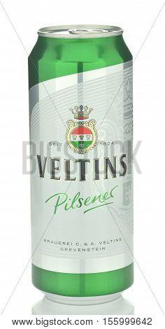 CIRCA NOVEMBER 2016 - GDANSK: Veltins pilsener beer isolated on white background. Veltins pilsener is brewed in Brauerei C and A Veltins is a brewery in the west German city of Meschede-Grevenstein.
