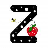"""The letter Z in the alphabet set """"Buzzer"""" is black with white polka dots. Letter is decorated with a red apple and a buzzing bee. poster"""