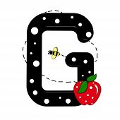 """The letter G in the alphabet set """"Buzzer"""" is black with white polka dots. Letter is decorated with a red apple and a buzzing bee. poster"""