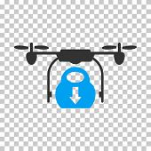Drone Drop Cargo toolbar icon. Vector pictograph style is a flat bicolor symbol, blue and gray colors, chess transparent background. poster