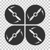 Airdrone Screws Rotation interface toolbar icon. Vector pictograph style is a flat symbol, gray color, chess transparent background. poster