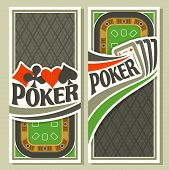 Vector logo of holdem Poker: four playing card ace diamonds for gambling game on green felt table in casino club, vertical banner for pokers gamble games, card suits: spades, hearts, diamonds, clubs. poster