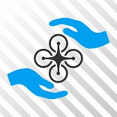 Air Copter Care Hands vector icon. Illustration style is flat iconic bicolor blue and gray symbol on a hatched transparent background. poster