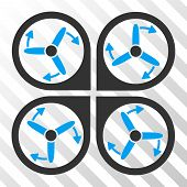 Copter Screws Rotation vector pictograph. Illustration style is flat iconic bicolor blue and gray symbol on a hatched transparent background. poster