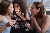 A new gossip. Pleasant delighted young girls gossiping and sitting in the bedroom while expressing interest and drinking wine poster