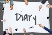 Diary Daily Record Journal Daybook Memoir Concept poster