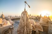 Jain temples on top of Shatrunjaya hill. Palitana (Bhavnagar district), Gujarat, India poster