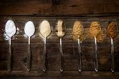 Different Kinds of Sugar in the Spoons such as coconut sugar pure cane sugar icing sugar agave syrup dark brown soft sugar golden caster sugar demerara cubes poster