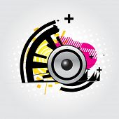 vector abstract illustration of speaker in colorful background poster