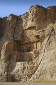 Naqsh-e Rustam Persian ancient necropolis northwest of Persepolis in Fars Province Iran with ancient Iranian rock relief in the cliff from Achaemenid Empire and Sassanid period poster