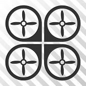 Nanocopter vector pictograph. Illustration style is flat iconic gray symbol on a hatch transparent background. poster