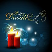 beautiful blue color diwali glowing background poster