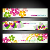 vector set of beautiful colorful flower headers poster