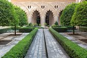 Courtyard in Aljaferia Palace one of the best preserved Moorish palaces in city Saragossa, Spain poster