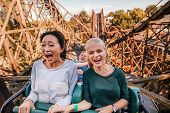 Shot of young friends riding roller coaster ride at amusement park. Young people having fun at amusement park. poster
