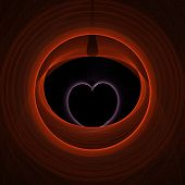 fractal rendering of pink heart inside red circles poster