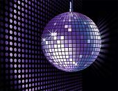vector background with disco ball poster