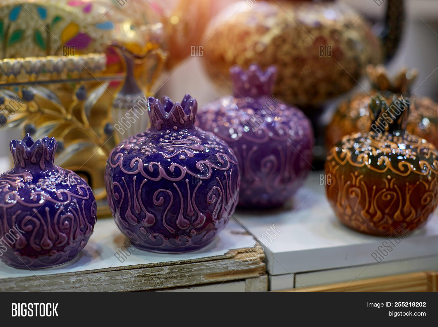 Rosh hashana pomegranates made of glass in souvenir stores in the jerusalem