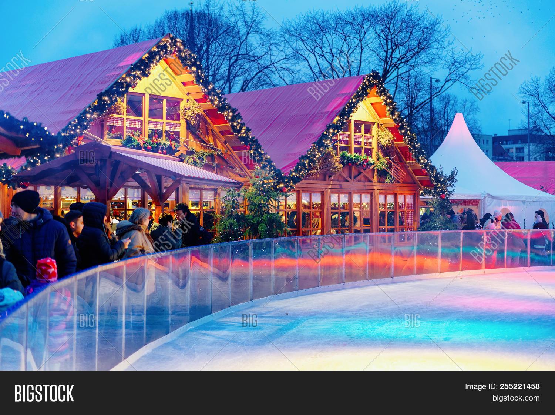 Christmas Ice Skating Rink Decoration.Berlin Germany Image Photo Free Trial Bigstock