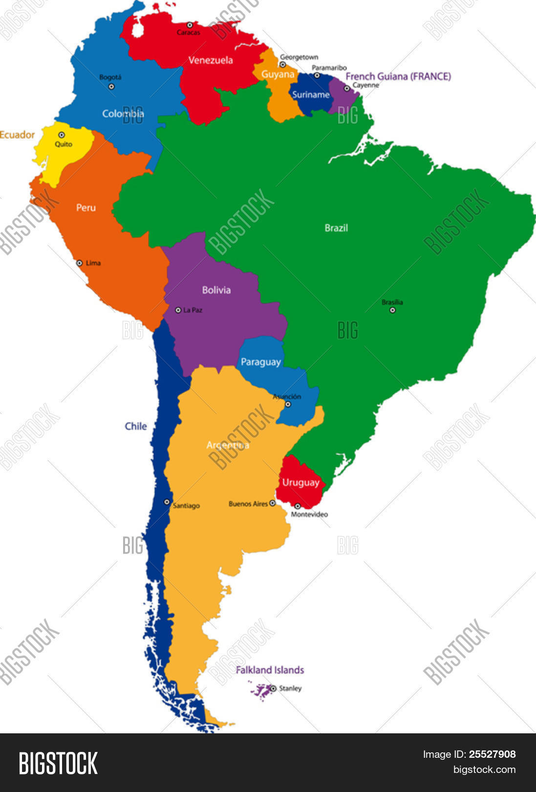 Colorful South America Map Vector Photo Bigstock - World countries and capital cities