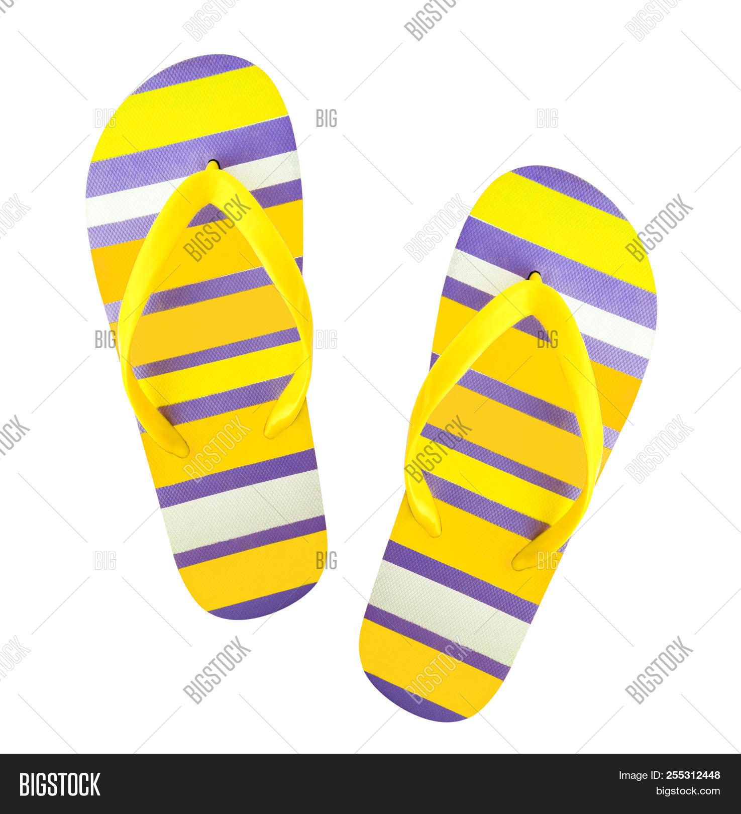 42ef8eeb907c Top view of bright color flip flops for beach or swimming pool. Striped  color pair of sandals isolated on white background. Shoes for men and women