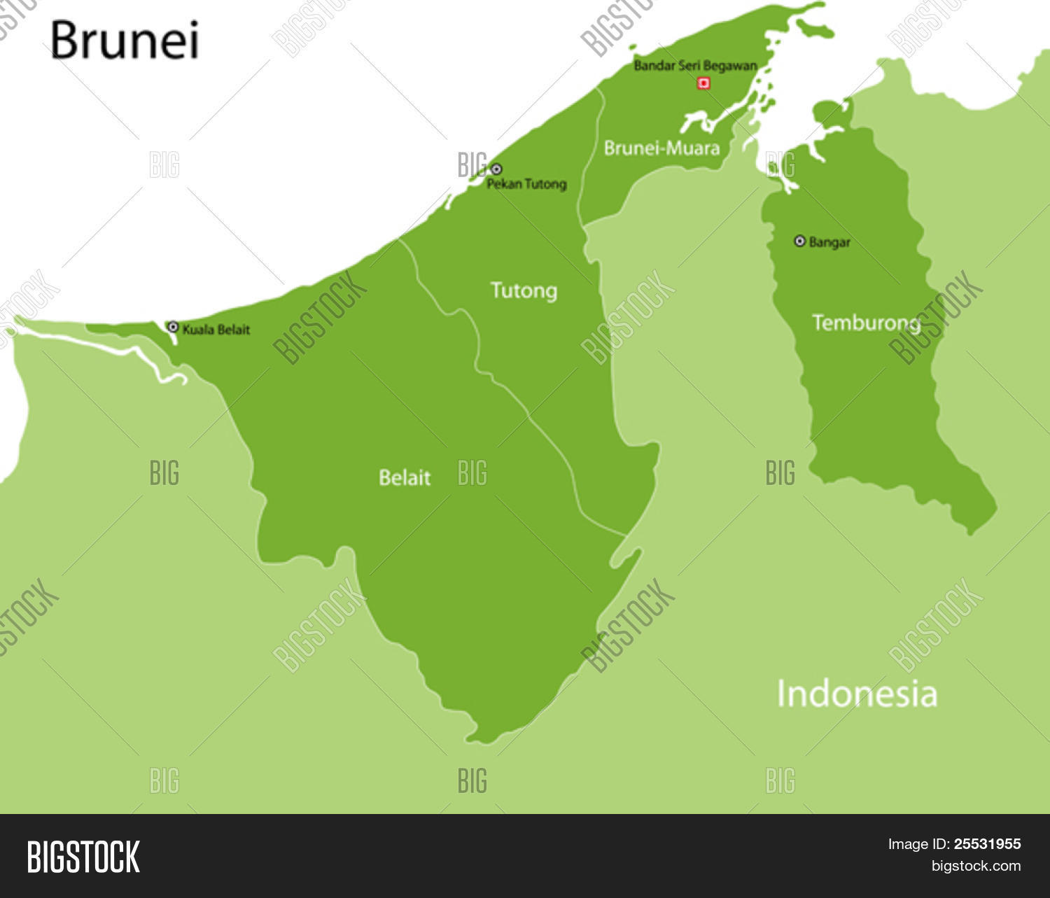 brunei map with provinces and capital cities