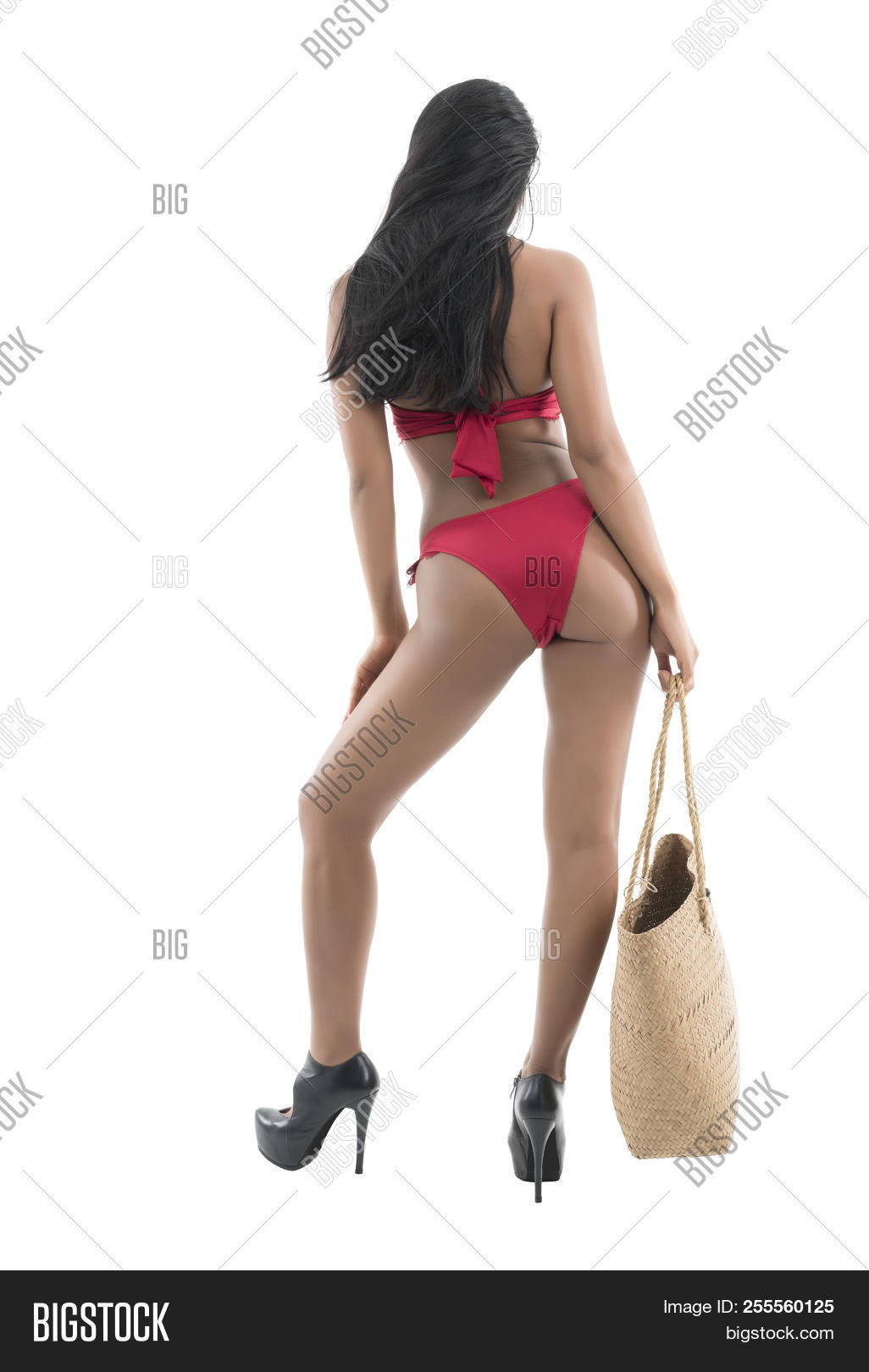 38093fecf2 Beautiful Sexy Young Asian Woman In Red Bikini And Black High-heeled Shoes  Holding Woven. Create a lightbox