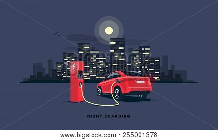 Vector Illustration Of A Red Electric Car Suv Charging At The Charger Station During Night Time Low