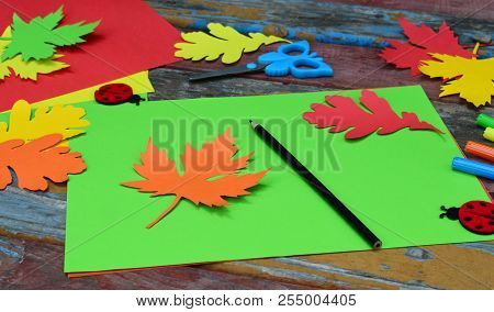 Making Maple Leaf From Colored Paper With Your Own Hands For Decoration Of Greeting Card. Handmade C