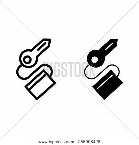 Key Line And Glyph Icon. Passkey Vector Illustration Isolated On White. Keychain With Key Outline St