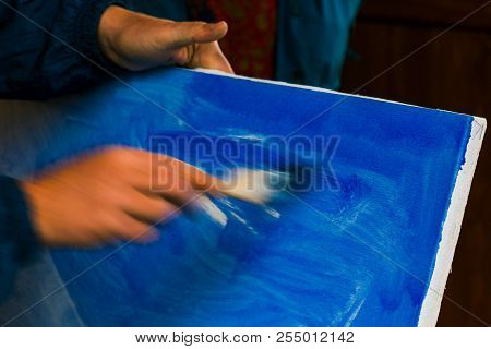 Painter Prepare Canvas For Drawing. Beautiful Artistic Background. Hand Motion Blur, Speed Drawing C
