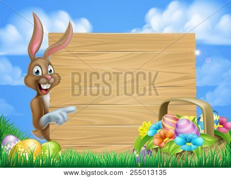 Cartoon Easter Background Of Easter Bunny And Easter Basket Full Of Decorated Chocolate Easter Eggs
