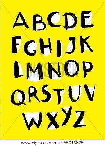 Vector Cartoon Font, Typography, Funny, Careless Type, Grunge Letters, Alphabet For Posters On Yello