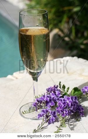 Wine And Purple Flowers