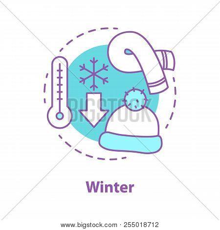Winter Season Concept Icon. Frosty Weather Idea Thin Line Illustration. Winter Temperature. Scarf An