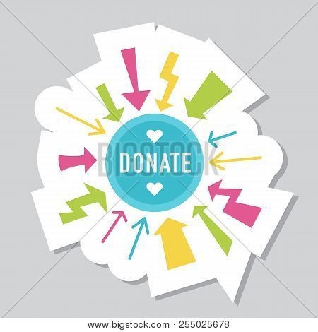 Donate Button With Piggy Bank, Flowers And Dollar Sign. Help Red Green Sticker. Gift Charity. Isolat
