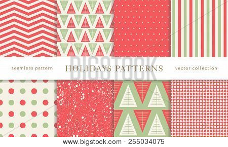 Set Of Winter Holiday Seamless Patterns. Merry Christmas And Happy New Year. Collection Of Simple Ge