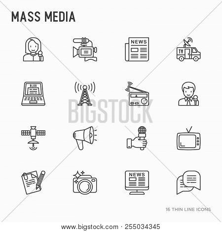 Mass Media Thin Line Icons Set: Journalist, Newspaper, Article, Blog, Report, Radio, Internet, Inter