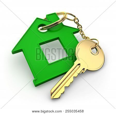 Abstract Green Home And Key. 3d Illustration