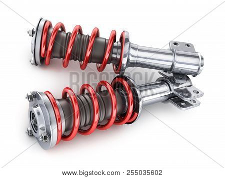 Two Shock Absorber Car On White Background. 3d Illustration