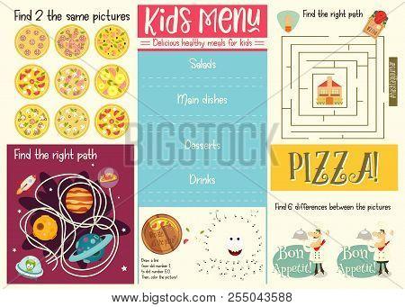 Kids Menu Template. Placemat For Cafe, Pizzeria. Set Of Kids Puzzles. Vector Illustration.