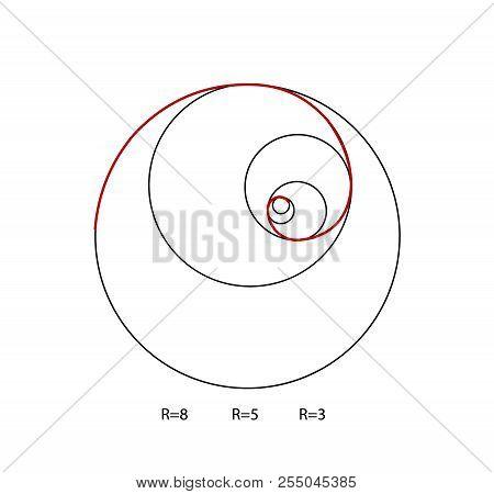 Fibonacci Spiral Symbol. Golden Ratio Vector. Education Science Vector
