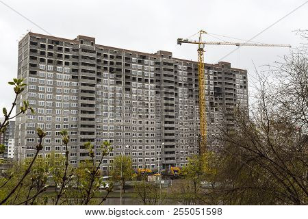 Construction Of High-rise Apartment Building In The City.