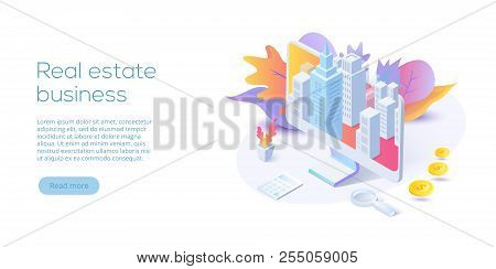 Real Estate Business Isometric Vector Illustration. House Searching App Concept. Online Buying, Rent