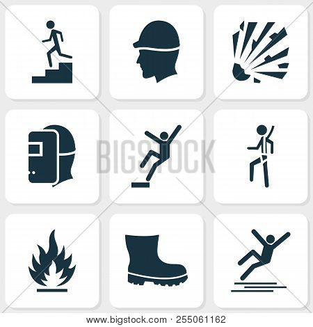 Safety Icons Set With Boot, Risk, Flammable And Other Headwear Elements. Isolated Vector Illustratio