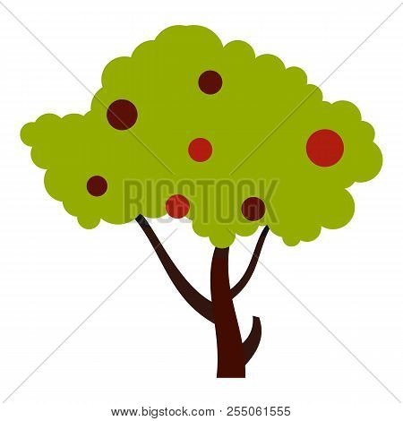 Tall Tree With Fruits Icon. Flat Illustration Of Tall Tree With Fruits Icon For Web
