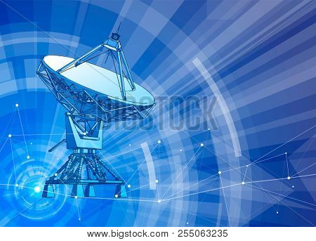 Satellite Dishes Antenna - doppler radar, digital wave and blue technology background - abstract illustration of science, astronomy, information technology, network solutions  and digital technologies