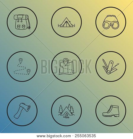 Camping Icons Line Style Set With Destination, Binoculars, Camping And Other Tepee Elements. Isolate